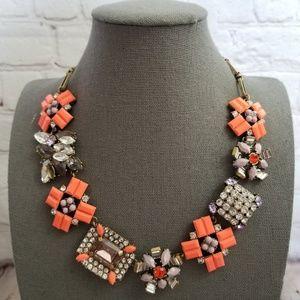 J. Crew Orange Gem Flower Cluster Necklace